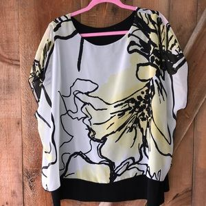 Yellow and black floral blouse 2X